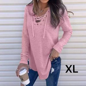 Lightweight Pink Lace Up Pullover